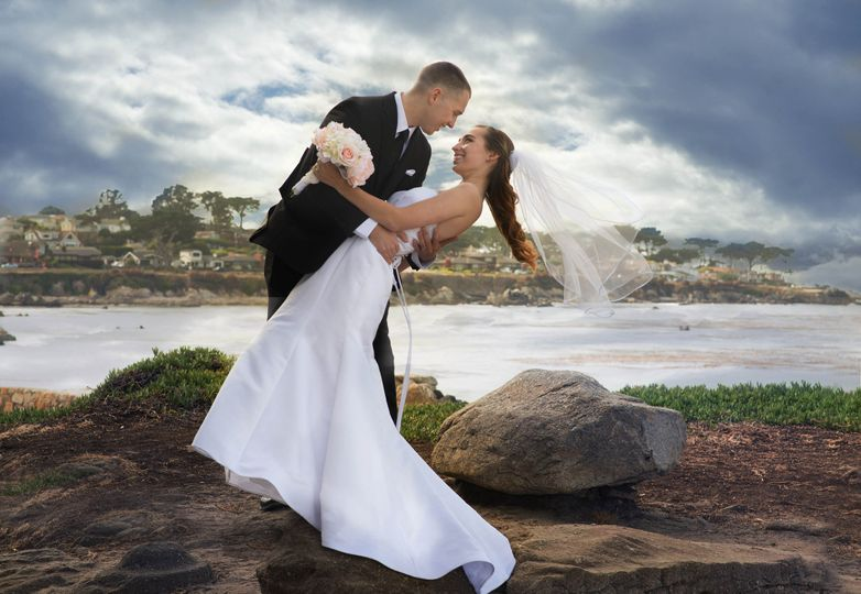 A lovely wedding at Lover's Point in Monterey Bay on the cliffs overlooking the ocean..