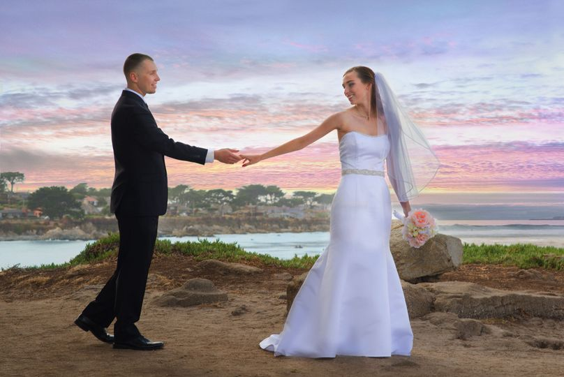 This photo was taken after the ceremony on the cliffs at Lover's Point on Monterey Bay in...