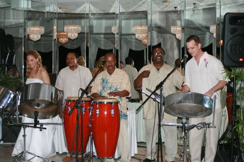 Steel Drum Band at beach wedding ceremony and reception in St Petersburg Florida.