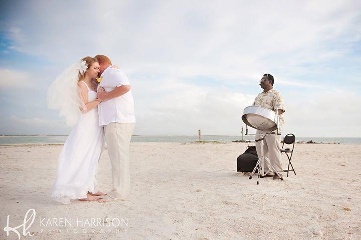 Steel Drum Player at beach wedding ceremony in Honeymoon Island State Park, Dunedin FL. Also service...