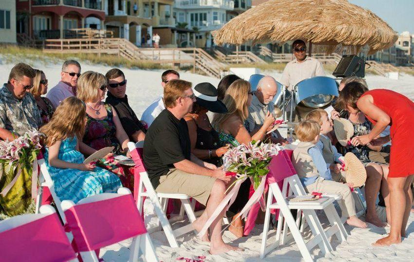 Steel Drum Player at beach wedding in Pensacola Beach Florida.