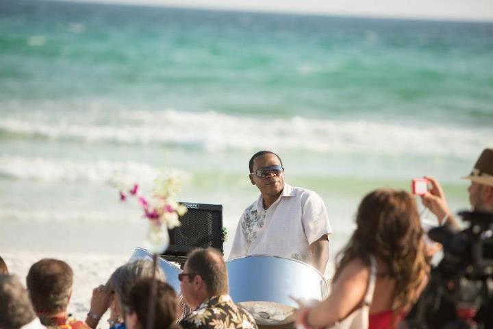 Steel Drum Player at Beach Wedding Ceremony in Destin Florida.