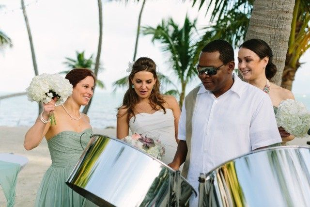 Steel Drum Band at beach wedding ceremony in Islamorada Florida.