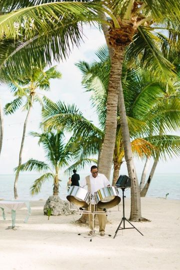 Steel Drum Player at Beach Wedding Ceremony in Islamorada Florida.