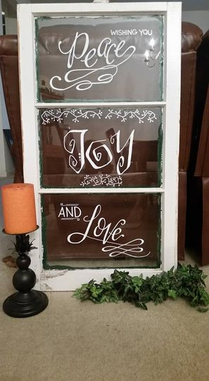 Holiday Lettering on Glass