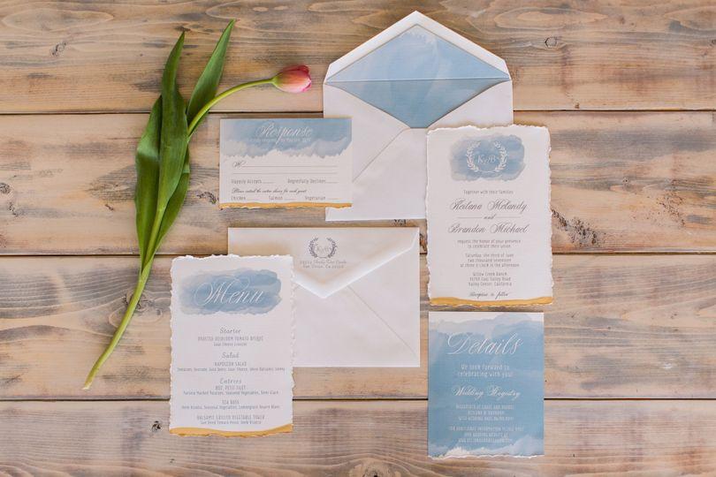 White and blue invitation