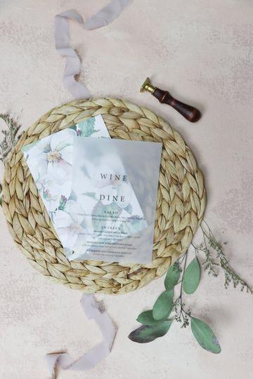 Floral pattern Vellum menu