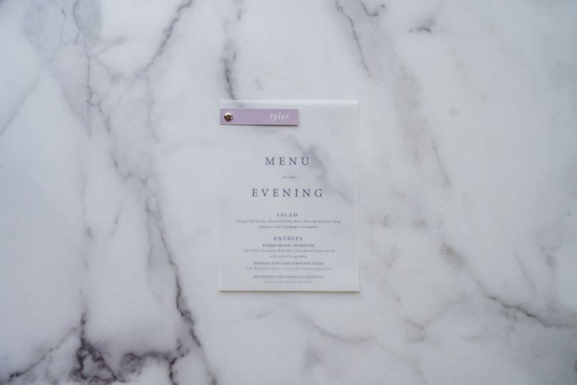 Vellum menu with name