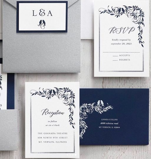 Silver and navy suite
