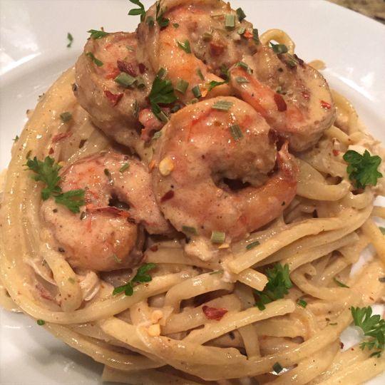 Spicy shrimp linguine