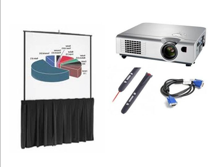 Power Pint Presentation Packagaes include Projector, screen, rf presenter remote, all cables.  Free...