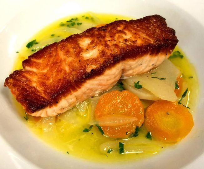 Scottish Salmon, Spring vegetable Barigoule, carrots, turnips, onions, parsley, white wine,