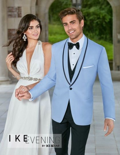 Soft blue suit with black lining