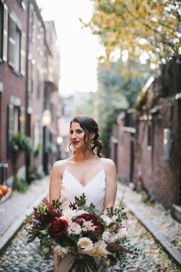 Bride and big bouquet