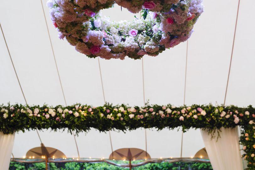 Ceiling floral arrangements