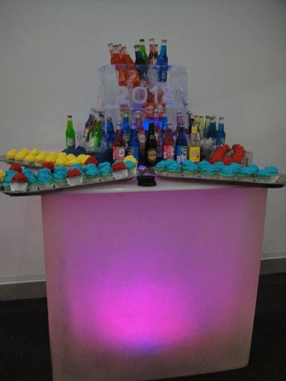 Lighted club table. Use as a serving table or put stools around it for extra seating