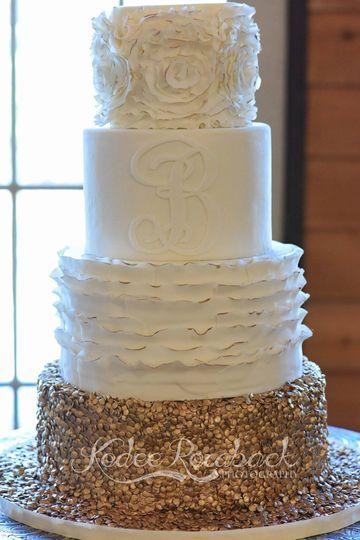 Chic ruffle wedding cake in Houston Texas