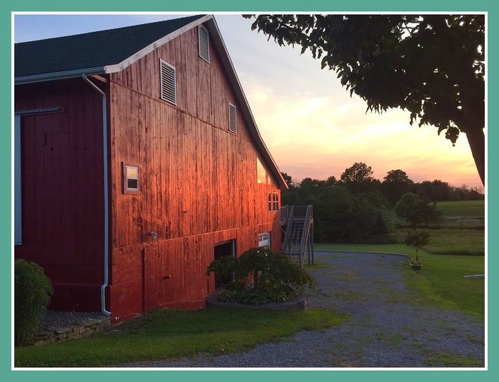 Abundance Hill barn at sunset