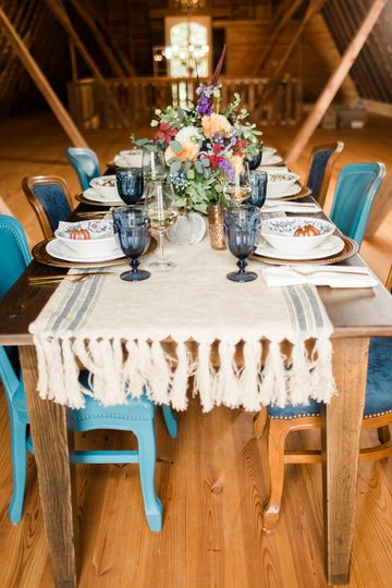 Blue chairs with table runner