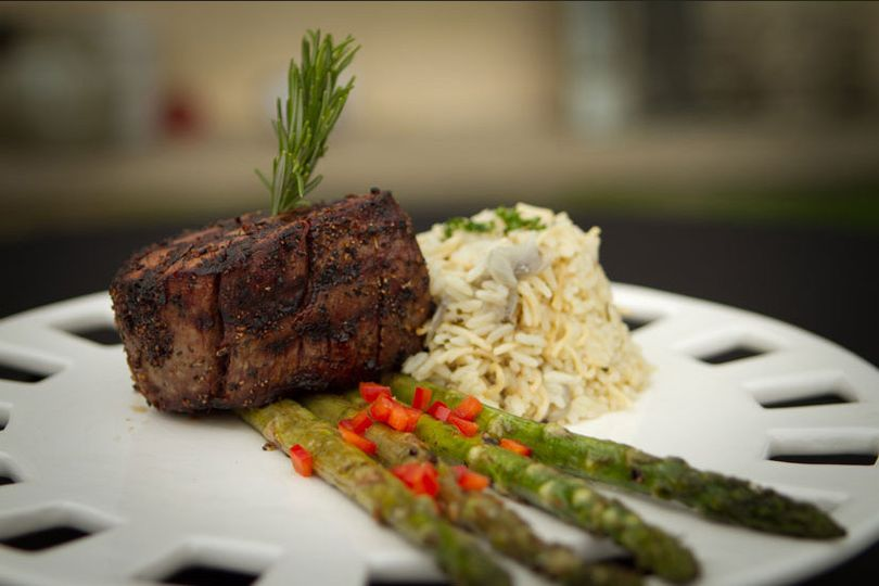 Grilled filet mignon, grilled asparagus & chef's rice pilaf