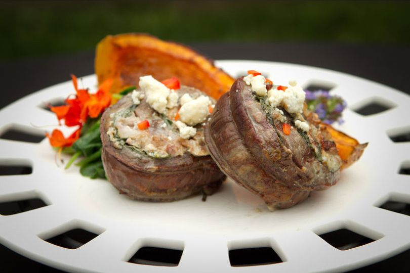 Bacon wrapped filet with gorgonzola cheese