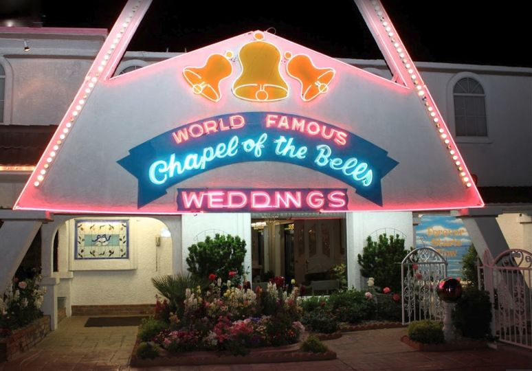 World Famous Chapel of The Bells.  Neon lights light the chapel while weddings are being done...