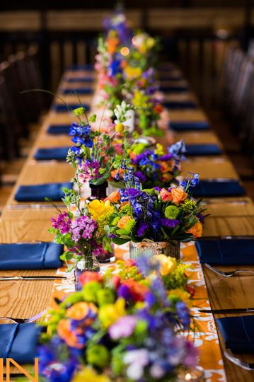 Wooden tables and wild flowers.#weddingsinbreck