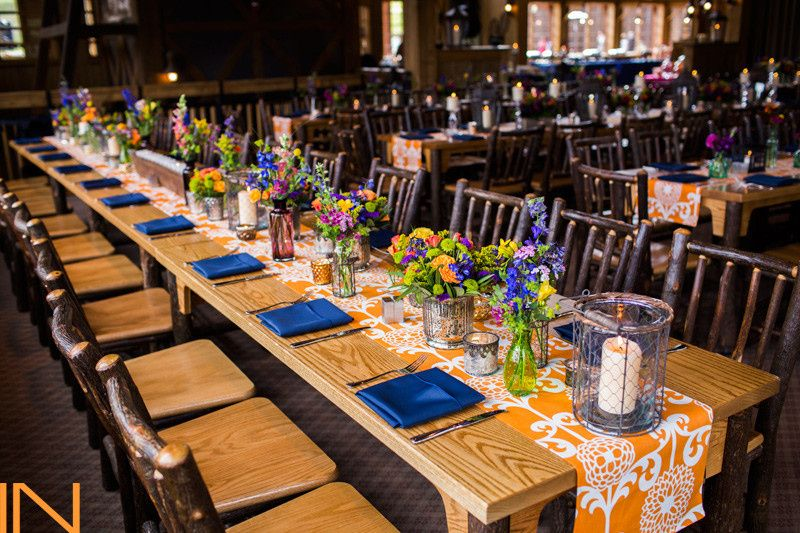 Rustic tables and chairs included in your site fee. #weddingsinbreck