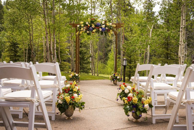 Forest surrounded, private ceremony patio.