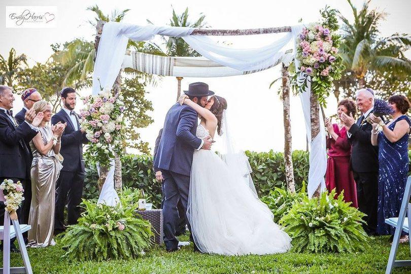 Celebrating the newlywed couple