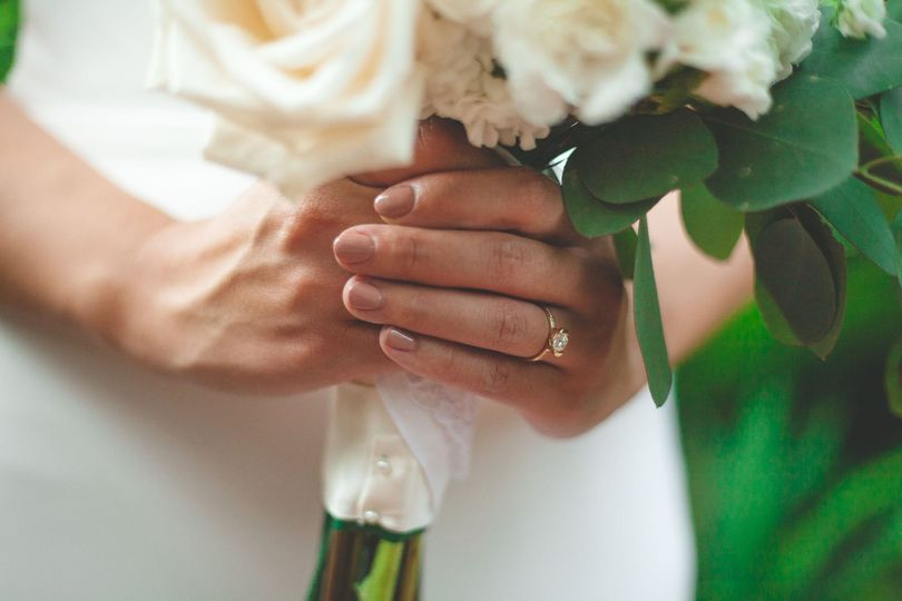 Bride's hand holding flowers