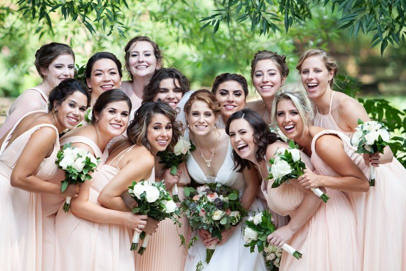 Large group of bridesmaids