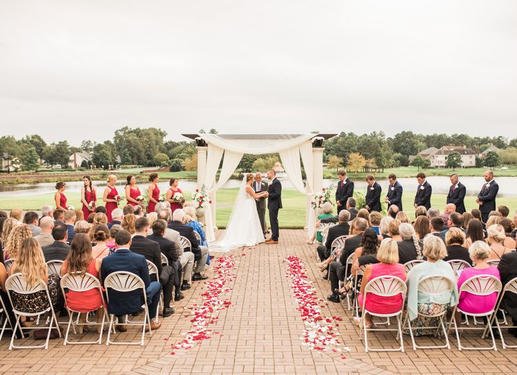 Lakeside terrace ceremony
