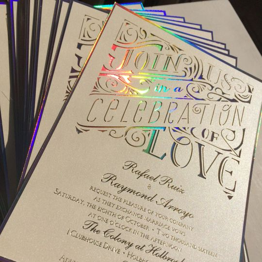 Holographic and die cut