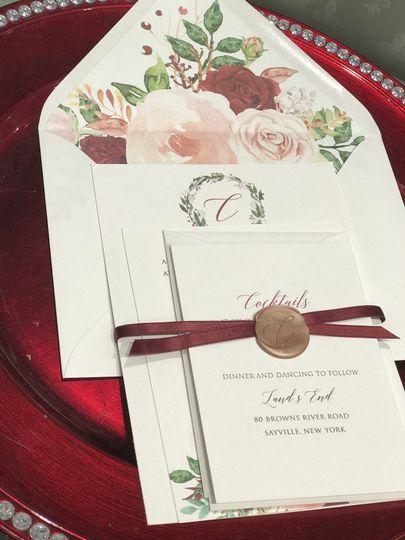 Floral invitation w/wax seal