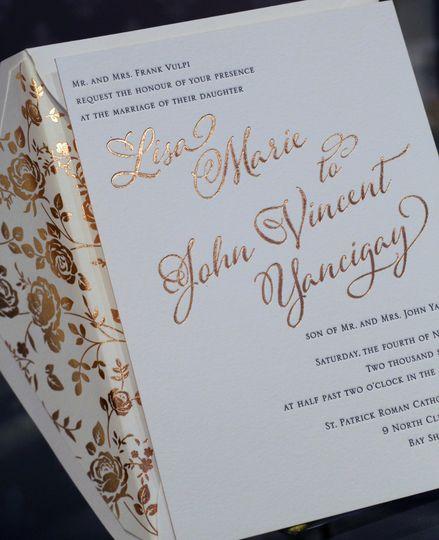 Letterpress and foil printed