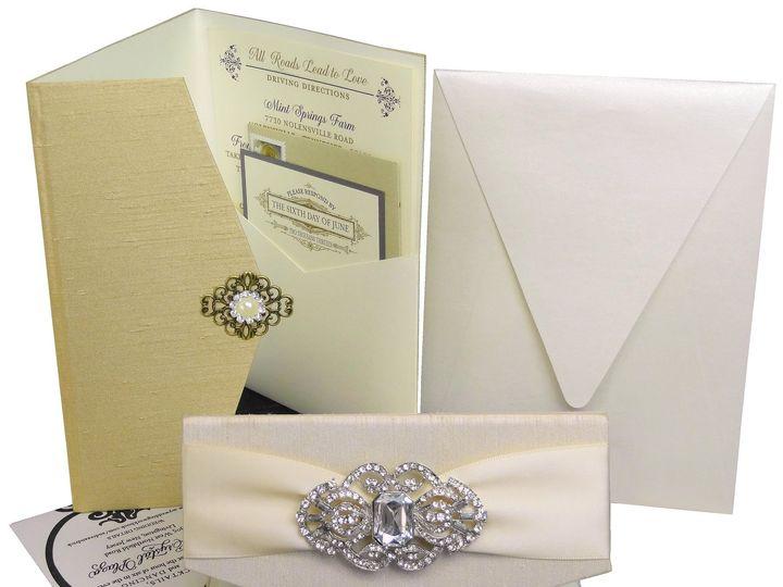 Tmx 1430408965299 Fabriccoveredpockets Bohemia, NY wedding invitation