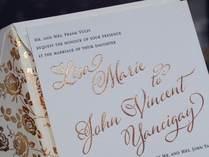 Tmx Letterpress And Foil By Melinda Cantor Designs 51 405877 Bohemia, NY wedding invitation