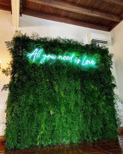 Greenery Backdrop & Neon Sign