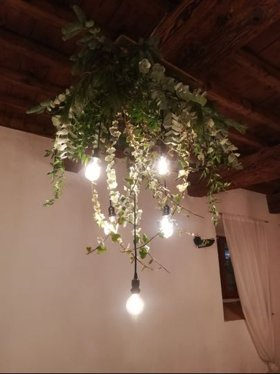 Chandelier with greenery