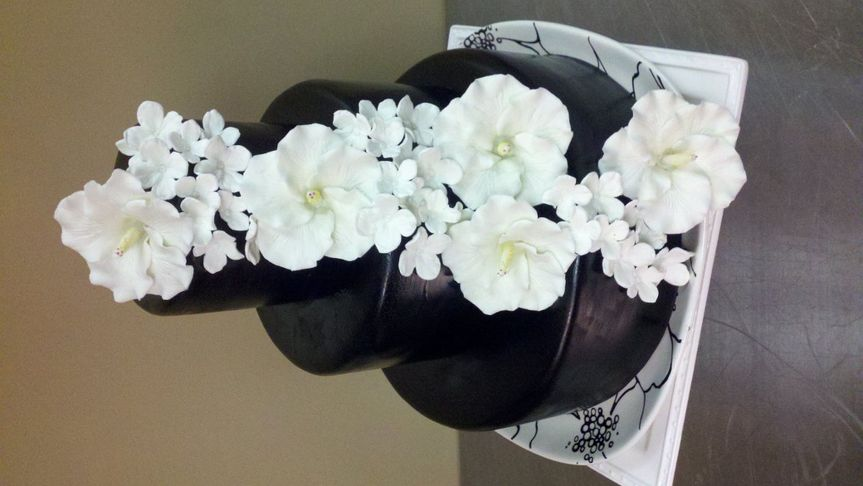 Black Cake with Sugar Orchids