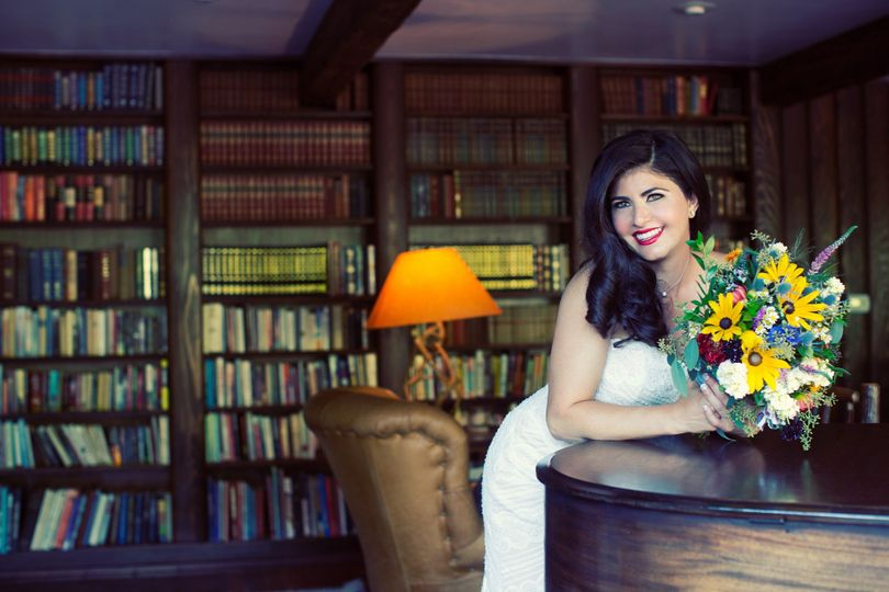 Bride in the library