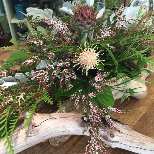 Driftwood floral centerpiece