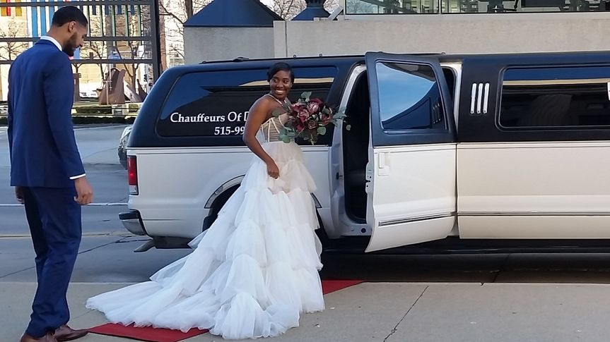 Getting in stretch limo SUV