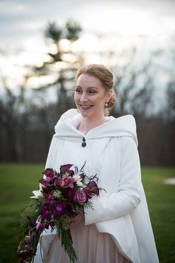 Bride in her coat