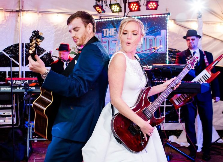 Bride performing with band