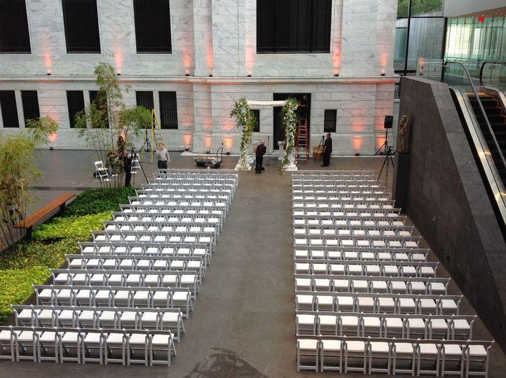 Portion of the Atrium (West) set for wedding ceremony