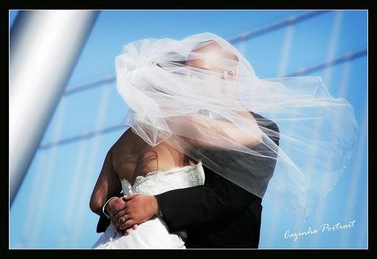 Bride and Groom with veil San Francisco Bay