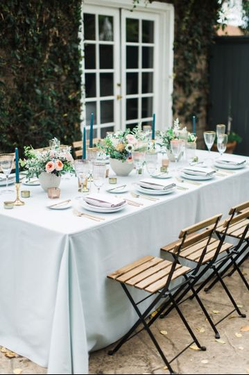 Blue and gold table