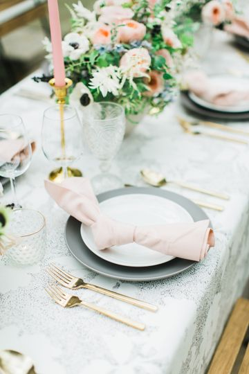 Gray and pink table